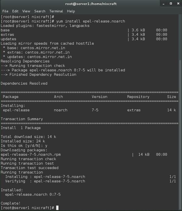 Fig.01: Installing repo on a CentOS 7 server