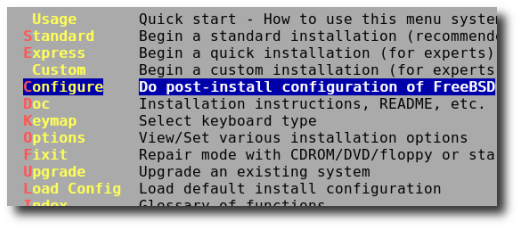 Fig.01: Scroll down to Configure and press [enter]