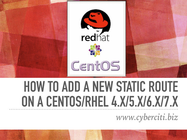 How to add a new static route on a centos rhel linux