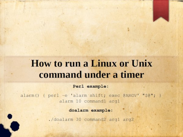 Alarm clock Set Timeout with doalarm and perl code for linux and unix