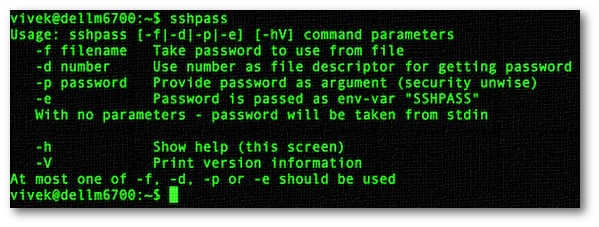 sshpass: Login To SSH Server / Provide SSH Password Using A Shell