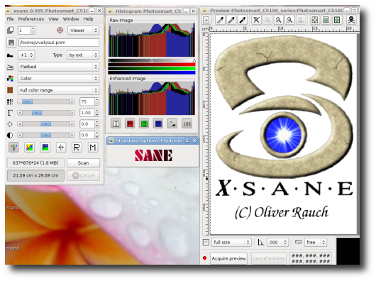 Fig.02: XSane on My Ubuntu Linux Desktop