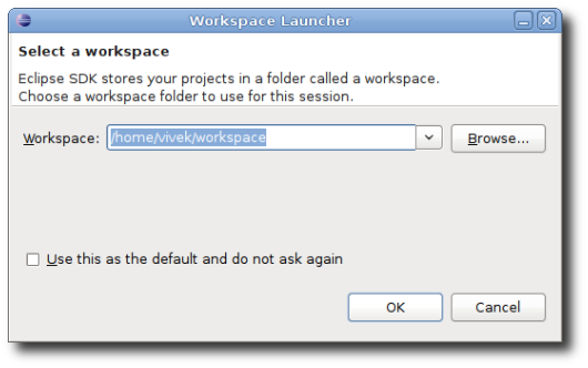 Fig.01: Eclipse IDE workspace Launcher