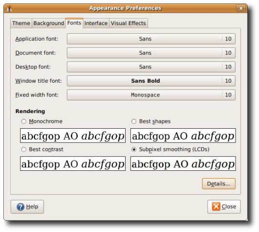 Fig.01: Ubuntu Linux ( Gnome ) Font preference tool