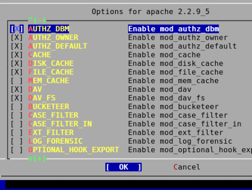 Fig.01: FreeBSD Apache v2.2 Config Options