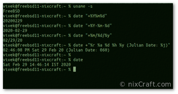 Unix Date Command Examples