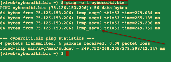 Fig.01 Basic ping Command Example