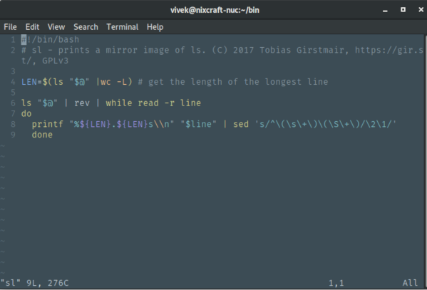 How to display line number in vim