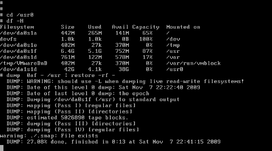 Fig.01: FreeBSD Copy /usr To New Disk Using dump Command