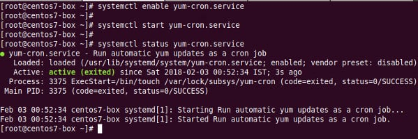 How to turn on yum-cron-service on CentOS or RHEL server