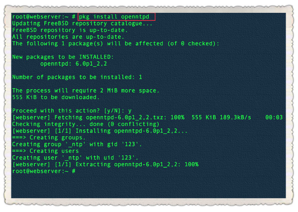 Fig.01: FreeBSD installing OpenNTPD using pkg command