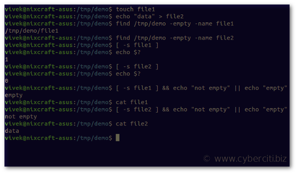 Bash Shell Check If File Is Empty Or Not on a Linux/Unix