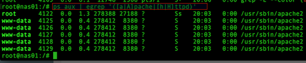 Fig.01: Finding out what user Apache is running as using ps command