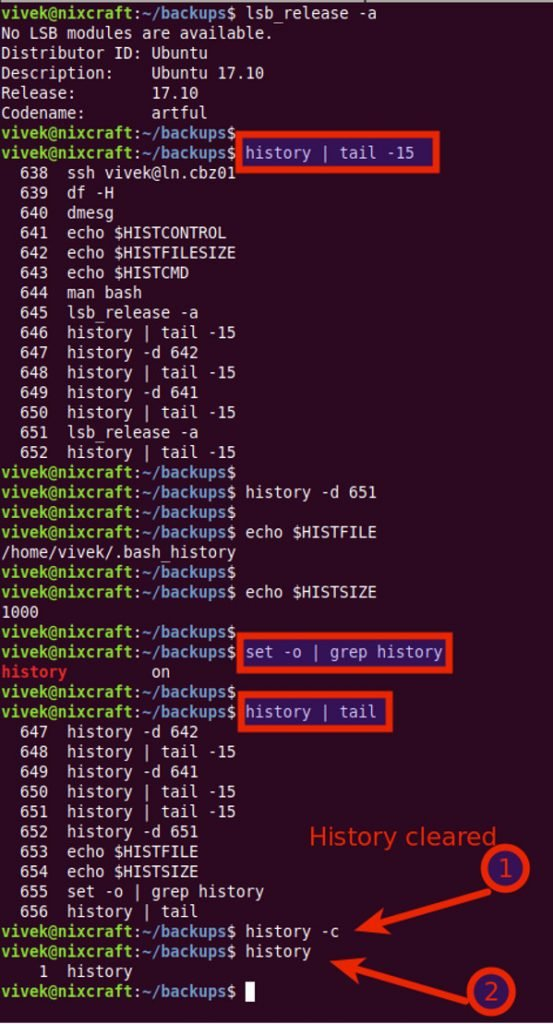 How To Clear Shell History In Ubuntu Linux