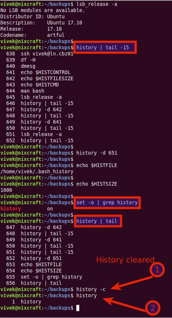 How To Clear Shell History In Ubuntu Linux - nixCraft