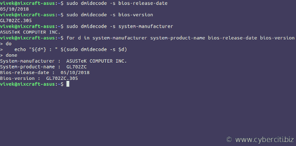 Linux Find Out BIOS Version Using a Command Line Option