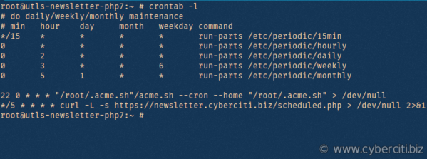 Linux view all cron jobs command