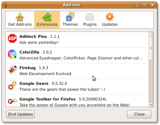 Fig.01: Firefox Add-ons