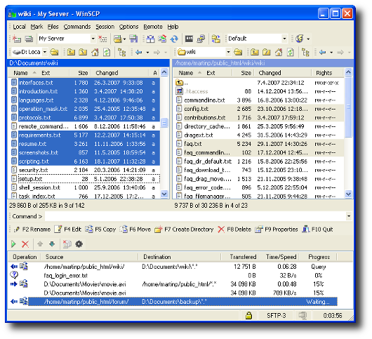 Windows Winscp transfer files from one UNIX / Linux server to another