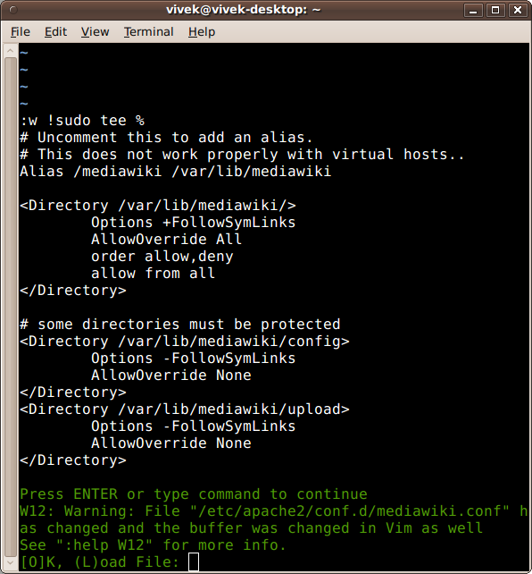 Fig.03: Save and Load File In Vim Again Without Login As Root