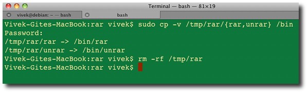 Fig.02: Copying files to /bin under OS X