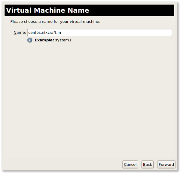 Fig.03: Name the KVM virtual machine