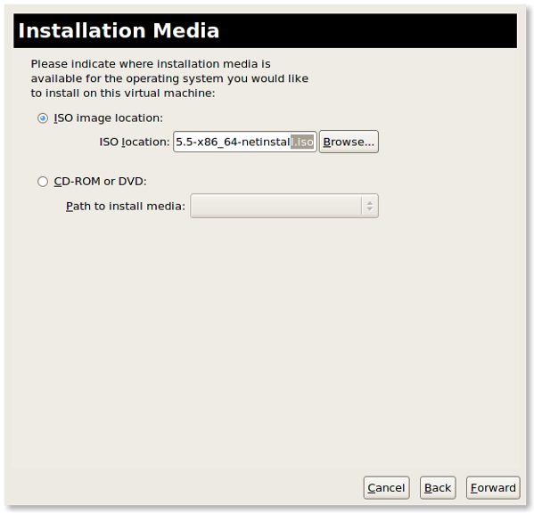 Fig.06: Local media installation via CDROM or ISO image