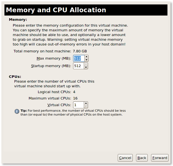 Fig.09: KVM Guest VM Memory and CPU Allocation Setup