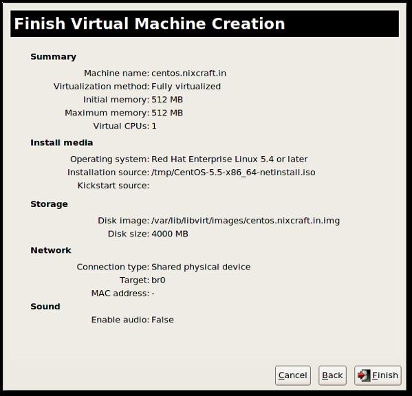 Fig.10: KVM VM setup done and you can start guest installation