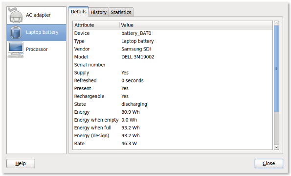Linux Laptop: Display Battery Status And Thermal Temperature