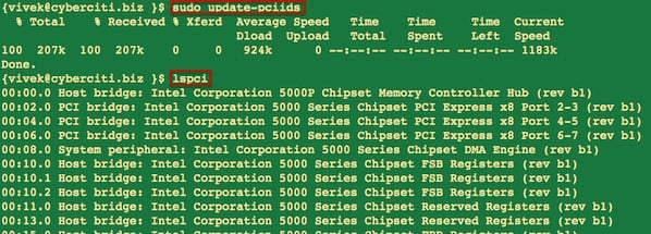 Fig.01: Running update-pciids and lspci commands on a Linux