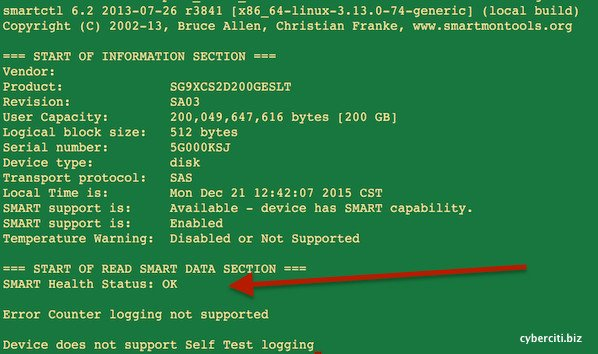 Fig.01: Linux Use smartctl To Check Disk Behind Adaptec RAID