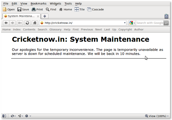 Fig.01: Displaying a Custom Nginx Maintenance Page - 503 Service Unavailable Page
