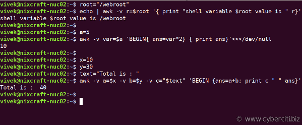Bash Pass Shell Variables To Awk Script On Linux and Unix