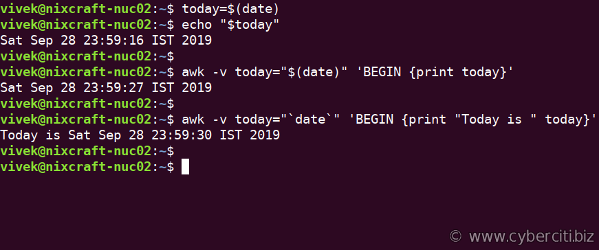 Passing Command Line Variables to awk on Linux
