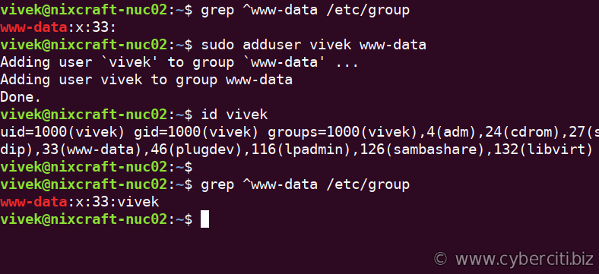 Ubuntu Linux Add a User To Group www-data Apache Group command