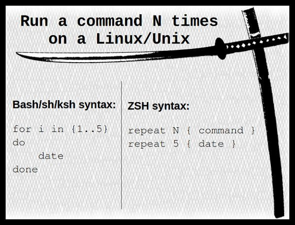 How to run a command N times in bash