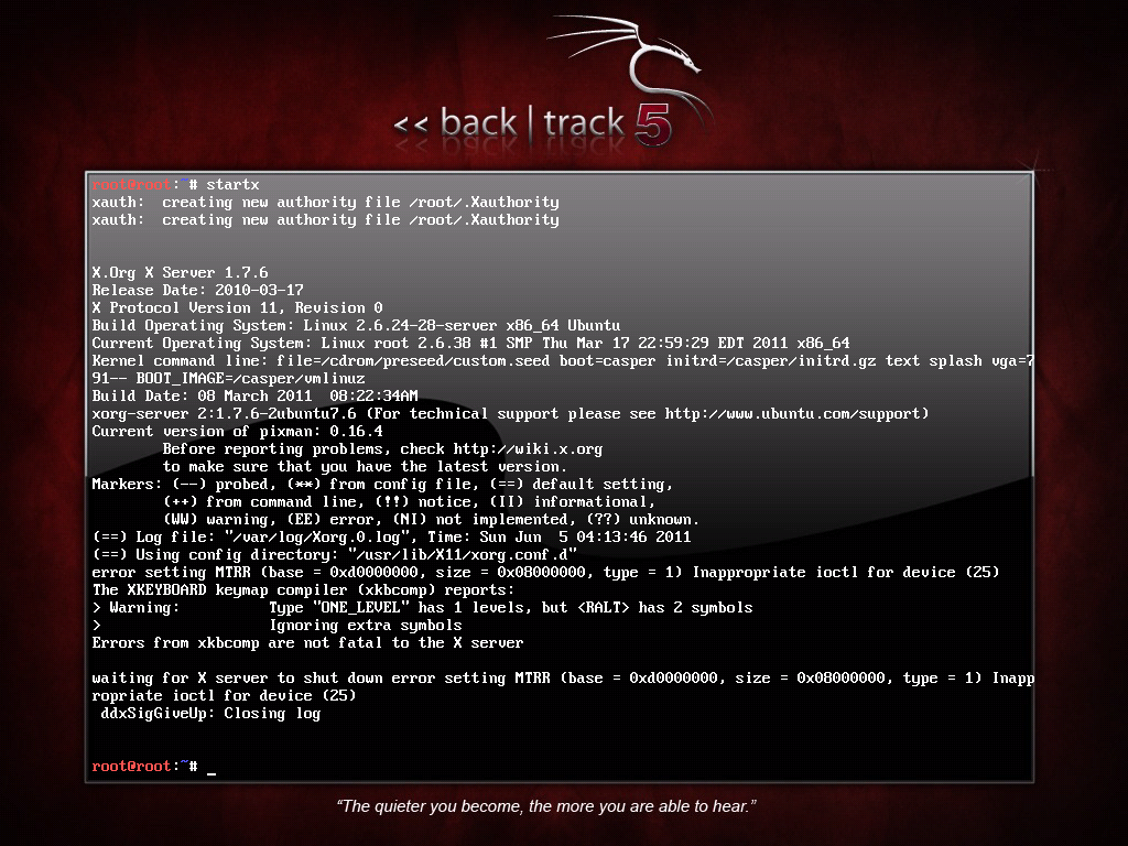 BackTrack Linux 5 KDE 64bits startx Install (failed)