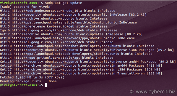 What does sudo apt-get update command do on Ubuntu/Debian Linux