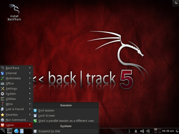 Backtrack 5 KDE Linux Deskop Screenshot