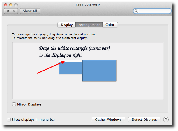 Fig.02: Drag the white rectangle to move the menu bar to the external display