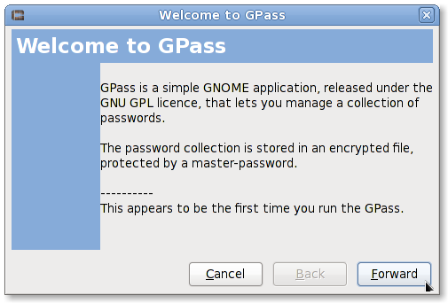 Fig.01: Running gpass for the first time