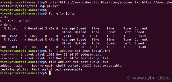Download a file with curl on Linux / Unix command line