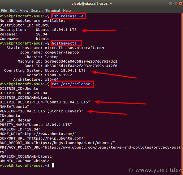 Checking your Ubuntu Version using the terminal bash shell