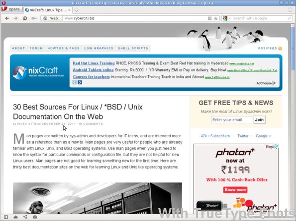 nixCraft WebPage with TrueType Fonts