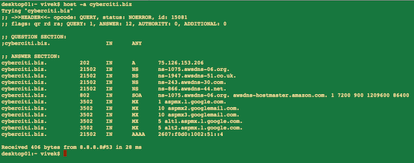 Fig.01: The -a option displays any type of dns records