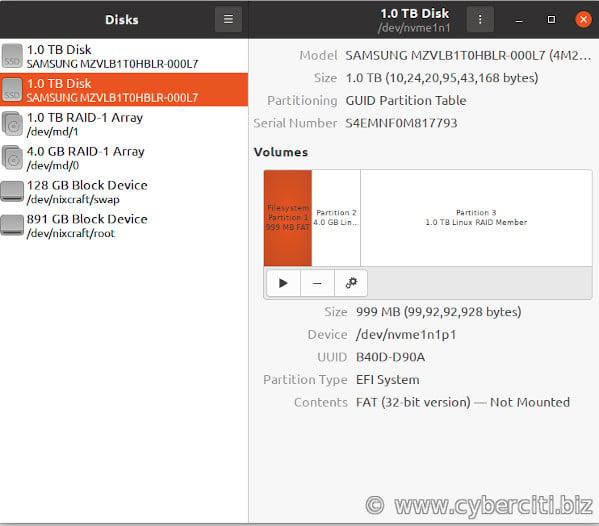 Linux GNOME Desktop NVMe PCI SSD