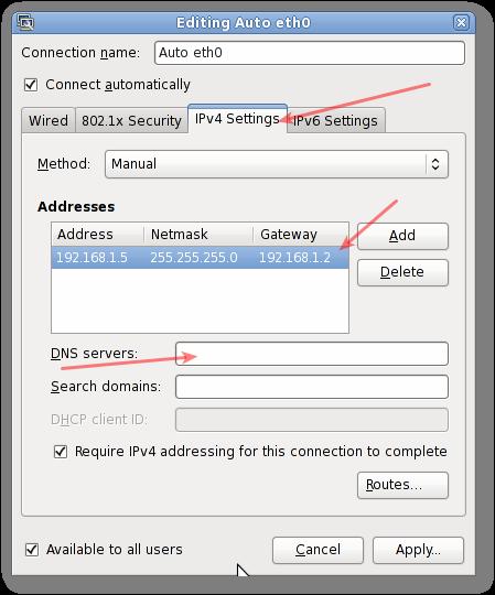 how to manually set ip address