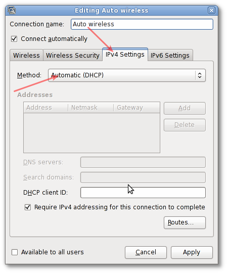 Linux Network Setting Wireless To Auto DHCP
