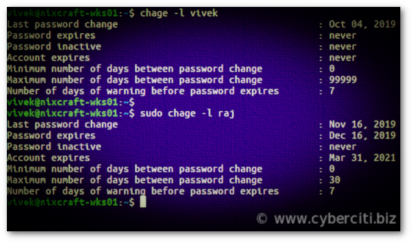 Linux Check User Password Expiration Date Time with chage